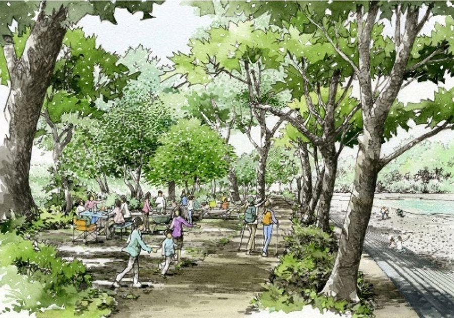 整備後の波川公園周辺のイメージ図(いずれも、いの町提供)
